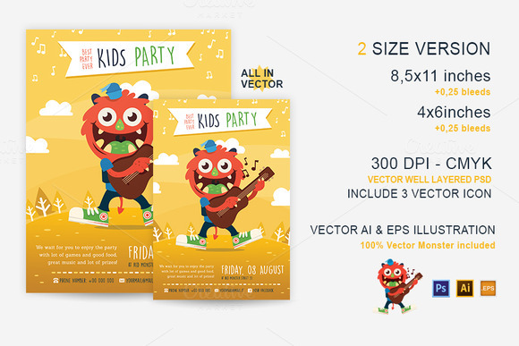 Party Kid Illustrated Flyer Template