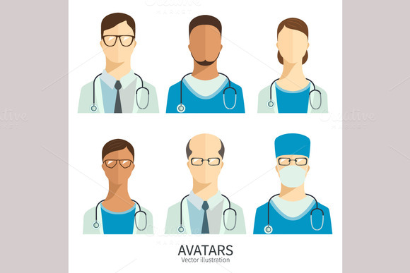 Doctors And Medical Staff Icons Set