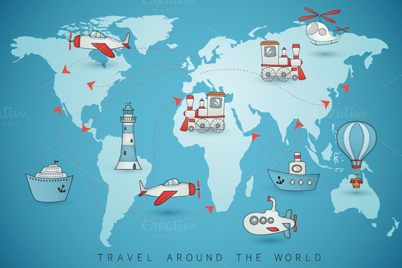 Travel Icons On The World Map