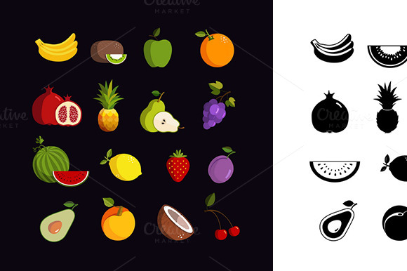 Vector Fruit Colorful Icon Set