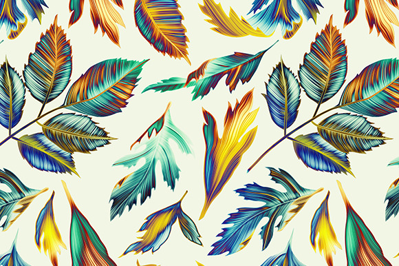 Tropical Pattern Jungle Palm Leaves