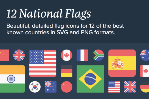 12 National Flags