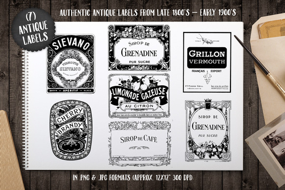 7 Antique Typography Word Labels