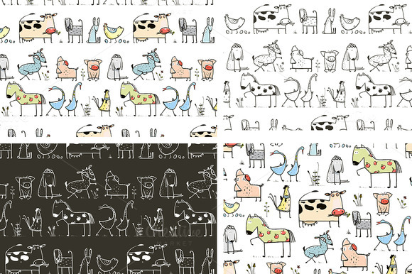 Cartoon Farm Animals Pattern