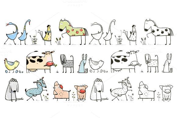 Funny Cartoon Farm Animals Set