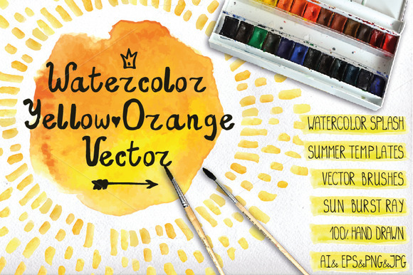 Watercolor Orange Yelow Vector Set