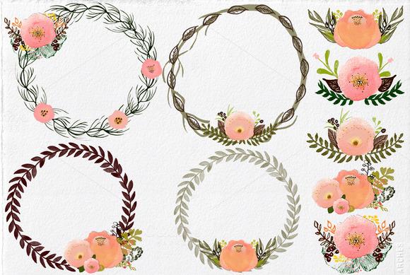 Watercolor Wreath Buquets