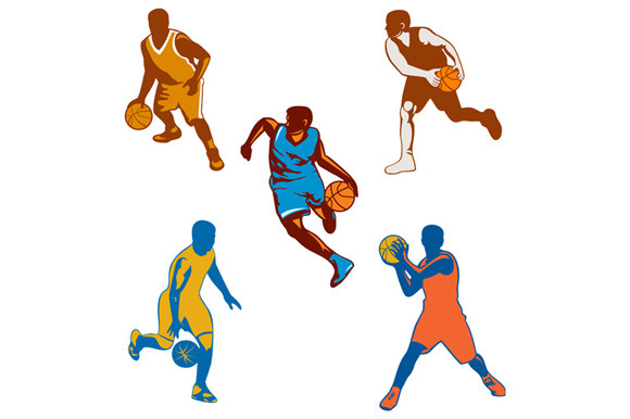 Basketball Player Dribbling Ball Col