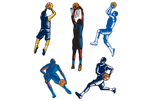 Basketball Woodcut Collection
