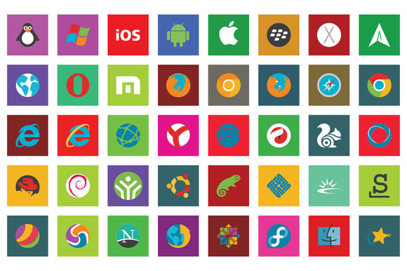 45 Browser Os Flat Icon Set