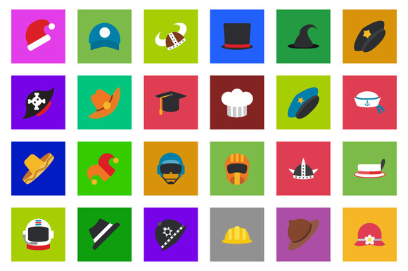 25 Cap Hat Flat Icon Set