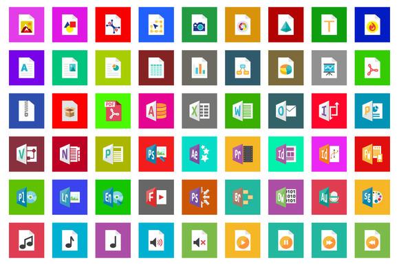 75 Filetype Flat Icon Set