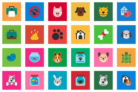 30 Pet Flat Icon Set