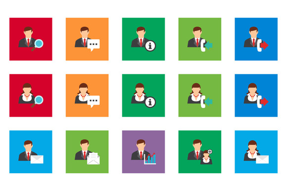 20 User Account Flat Icon Set