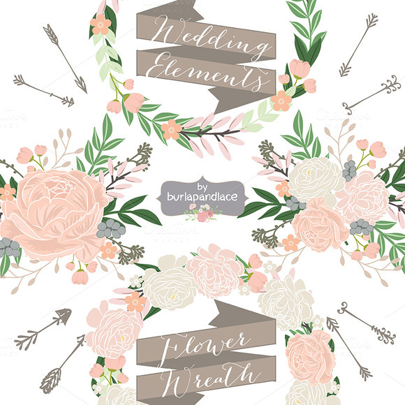 Vector Rustic Floral Wedding Element