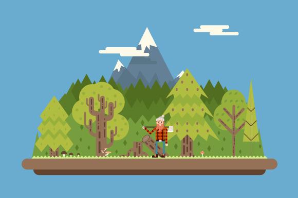 Lumberjack In Wood Under Mountain