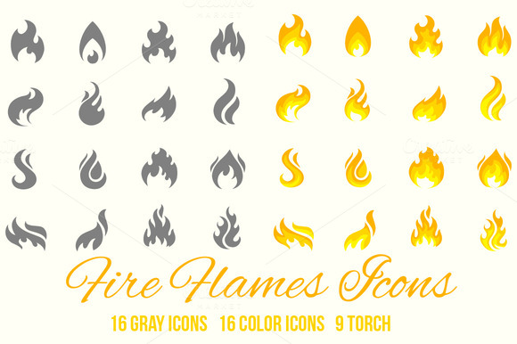 Fire Flames Vector Icons