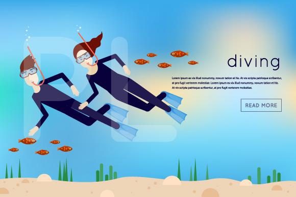 Diving Man Under Water Waving