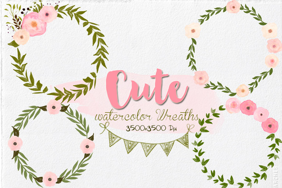 Hand-Painted Watercolor Wreaths