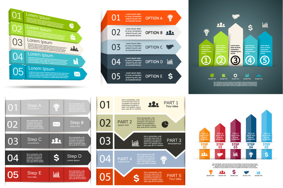 6 Infographics For 5 Options Set 4