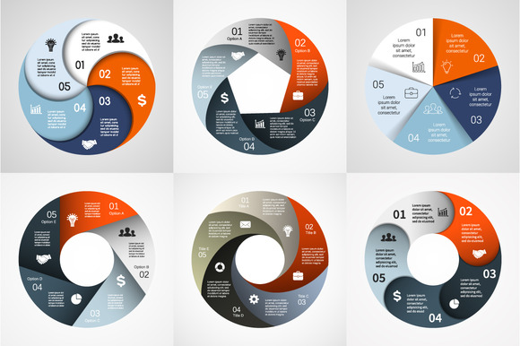 6 Infographics For 5 Options Set 2