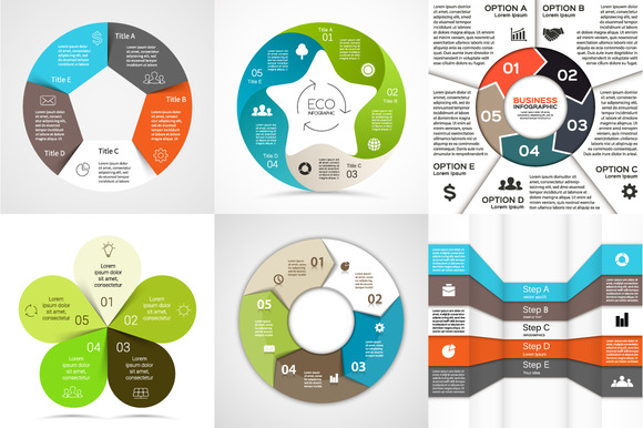 6 Infographics For 5 Options Set 1