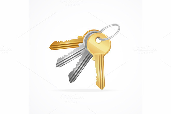 Vector Key Set Isolated On White