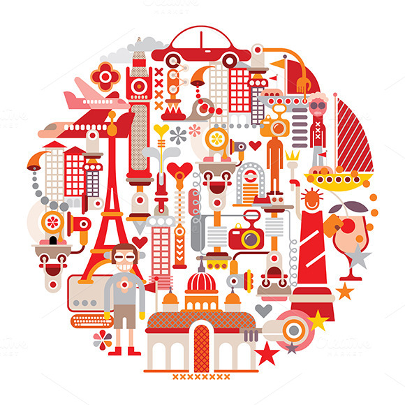 Travel And Tourism Round Vector