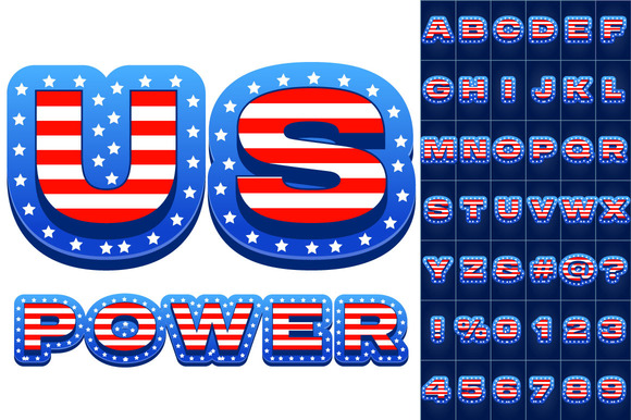 Vector Set Of American Flag Alphabet