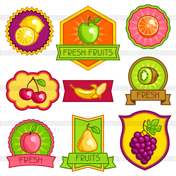Badges And Labels With Fruits