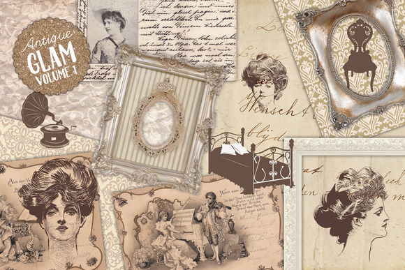 Antique Ephemera Illustrations Set