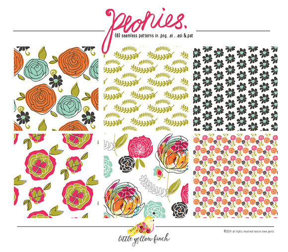 Peonies Seamless Patterns