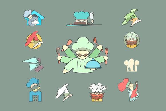Restaurant Chef Flat Logo Set