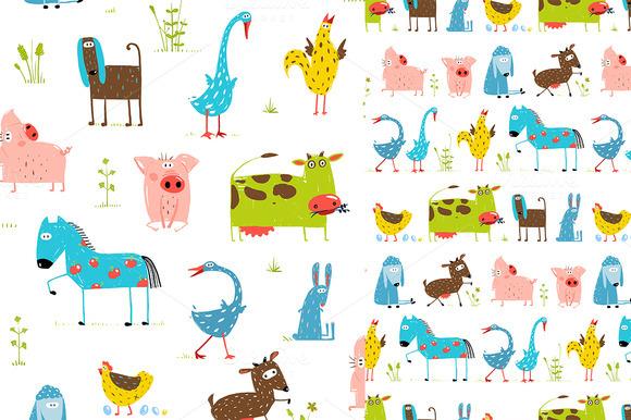 Cartoon Farm Animal Seamless Pattern