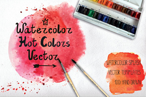 Watercolor Vector Stains Hot Colors