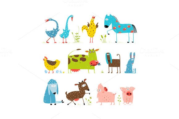 Fun Cartoon Farm Kids Animals