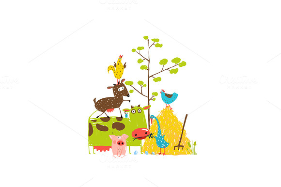 Cartoon Farm Domestic Animals