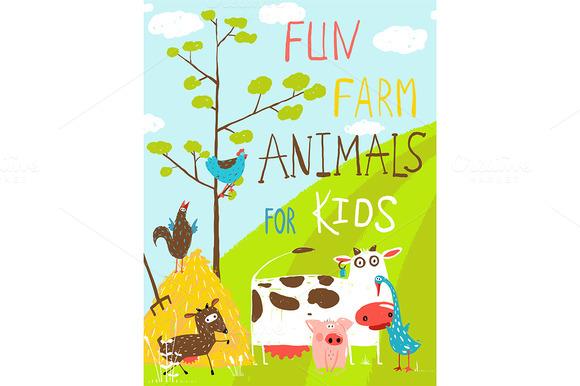 Cartoon Farm Animals In Field