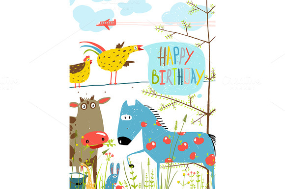 Cartoon Farm Animals Birthday Card