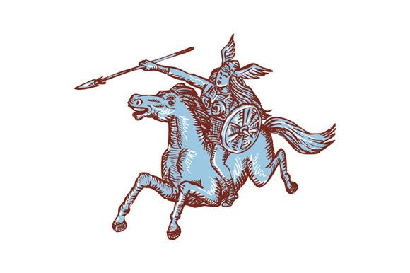 Valkyrie Warrior Riding Horse Spear