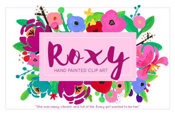 Roxy Painted Flower Clip Art Acrylic