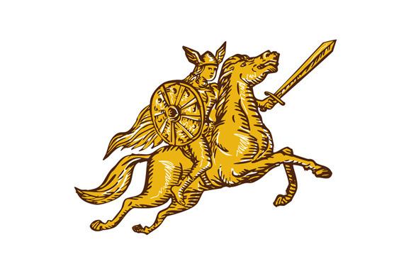 Valkyrie Warrior Riding Horse Sword