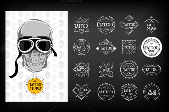 16 Tattoo Studio Badges