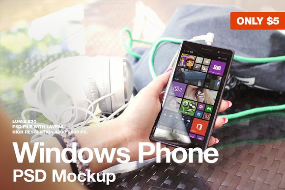 Windows Phone Lumia 830 Mockup