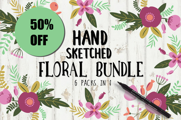 50% OFF Hand Sketched Floral Bundle
