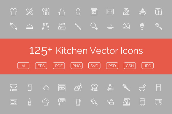 125 Kitchen Vector Icons