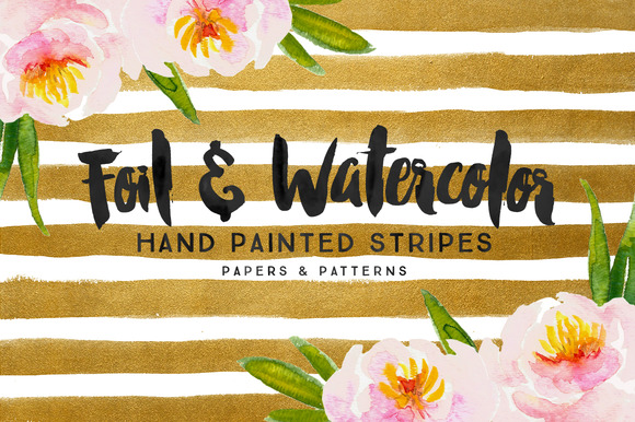 25% Off Foil Watercolor Stripes
