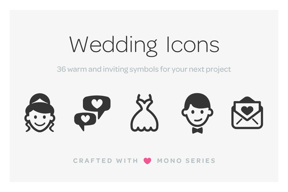 Mono Icons Wedding