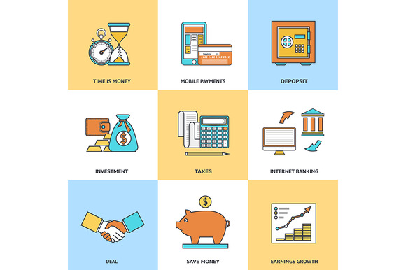 Modern Financial Line Icons Set