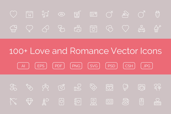 100 Love And Romance Vector Icons